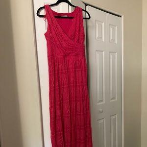Pink crochet maxi dress lined